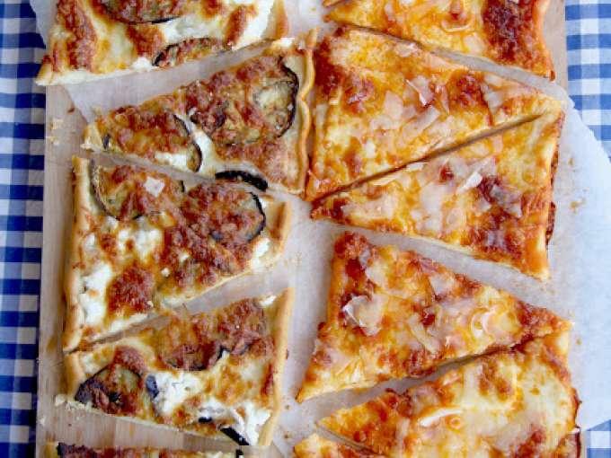 Pizzas de berenjena-ricotta y  sobrasada-brie
