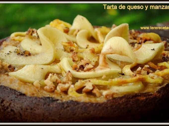 Tarta de queso y manzanas