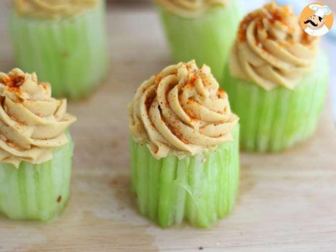 Cupcakes de pepino y hummus