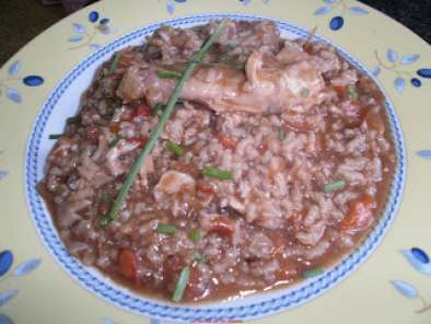Receta Conejo con arroz y chocolate.