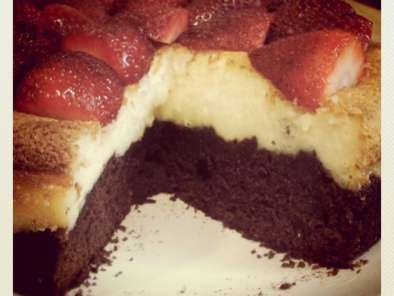 Receta Cheesecake brownie con fresas