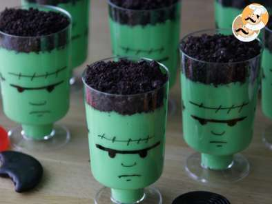 Receta Natillas frankenstein para halloween, frankenstein pudding