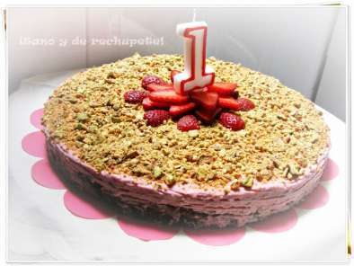 Receta Pastel de chocolate y fresas con pistacho (chocolate and strawberry cake with pistachio)