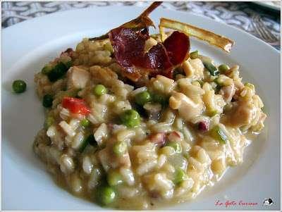 Arroz cremoso de pollo y verduras con jamon iberico - Platos con jamon iberico ...