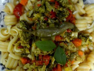 Espirales de pasta con vegetales
