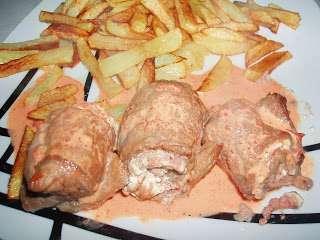 Filetes de ternera rellenos al horno en salsa de pimientos Receta