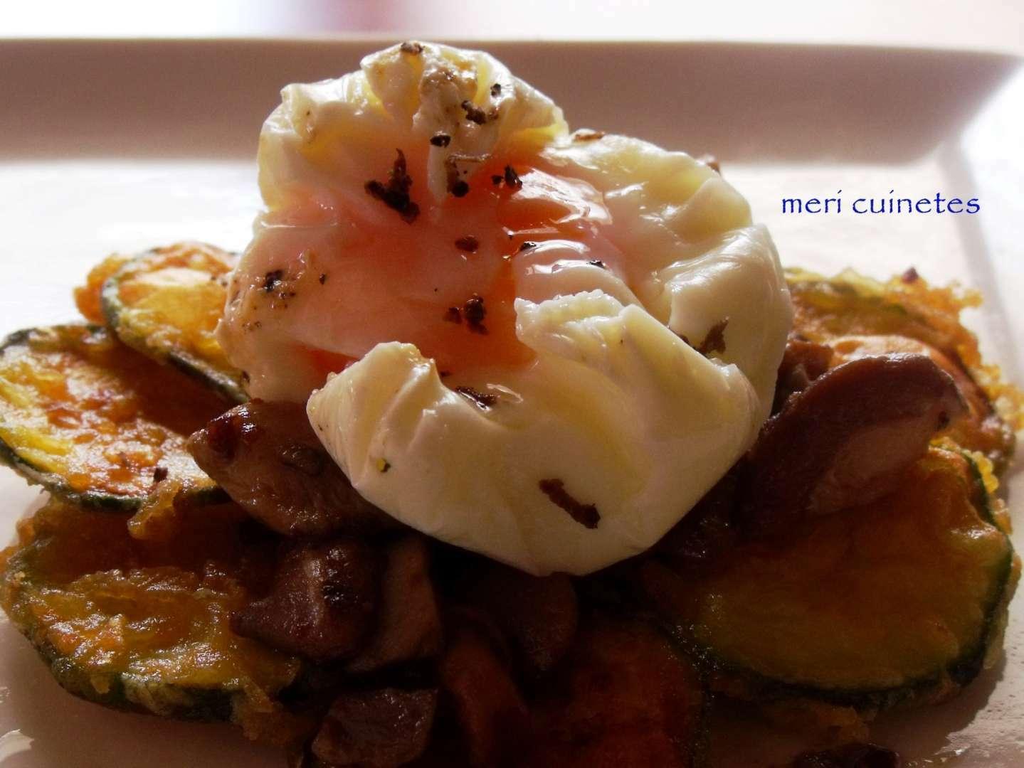 Huevo poch con trufa cama de calabacines y nido de setas for Arroz con setas y trufa