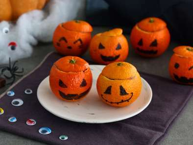 Mandarinas de Halloween con mousse de chocolate