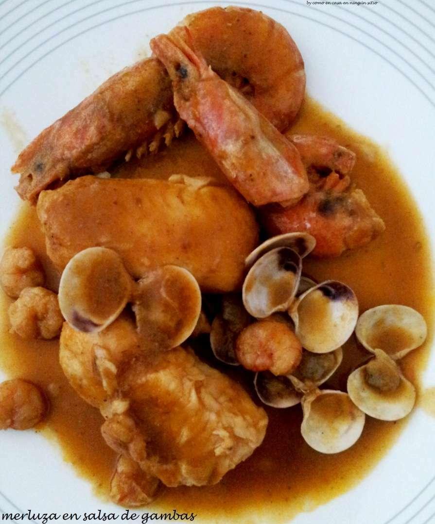 Merluza en salsa de gambas receta petitchef - Cocinar merluza en salsa ...