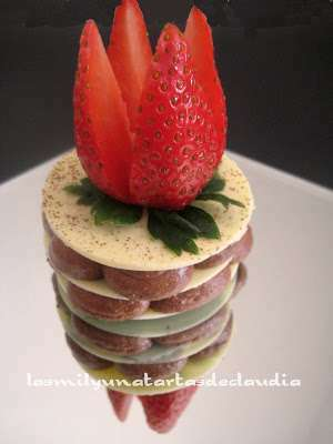 Milhojas de chocolate blanco con mousse de chocolate negro, Receta Petitchef