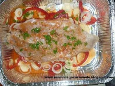 pescado con verduras al horno