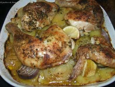 Pollo asado al lim n con patatas y cebolla receta petitchef - Pollo al horno con limon y patatas ...