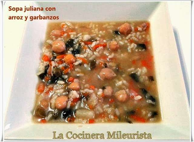 Sopa juliana con arroz y garbanzos olla r pida receta - Garbanzos olla express ...