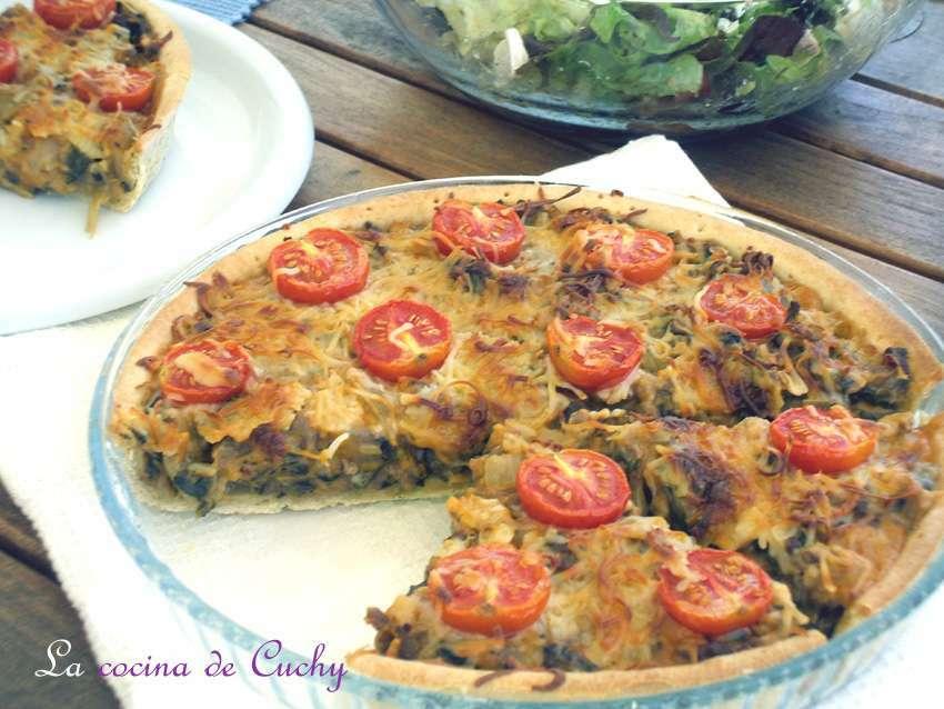 Tarta de acelgas carne picada y tomatitos receta petitchef for Cocinar acelgas