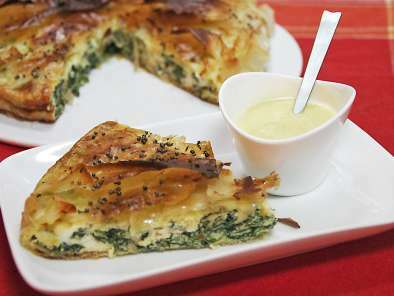 Tarta filo de espinacas y mostaza