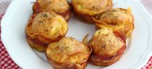Muffins de bacon con queso express